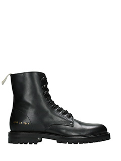Common Projects-Anfibi Winter Combact in pelle nera