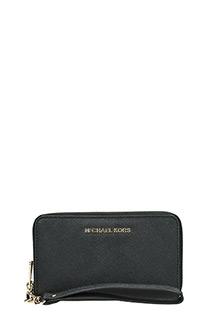Michael Kors-Portafoglio lg flat mf phn case in pelle saffiano nero