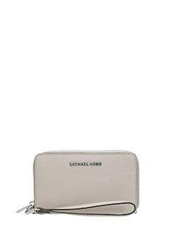 Michael Kors-Portafoglio lg flat mf phn case in pelle saffiano beige