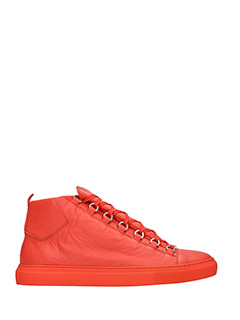 Balenciaga-Sneakers Arena High in pelle arancione
