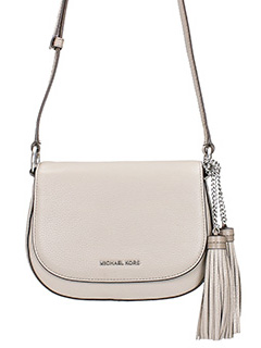 Michael Kors-Borsa Elyse Md Saddle in pelle beige
