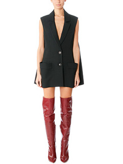 Balenciaga-Giacca lunga in lana nera