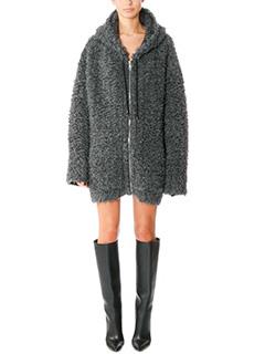 Balenciaga-Bomber lungo in lana grigia