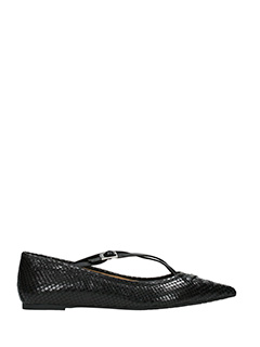 Michael Kors-Roslyn black leather ballet flats