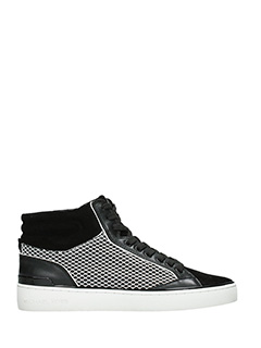 Michael Kors-Snealkers Kyle High Top in pelle e camoscio bianco nero