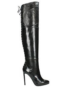 Lorenzo Masiero-Stivali stringati in pelle nera
