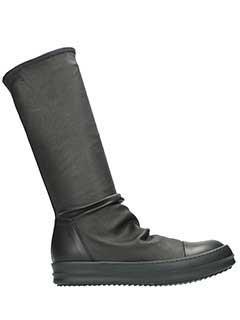 Rick Owens-Sneakers Geobasket in pelle nera bianca