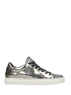 Crime-Sneakers basse in pelle argento