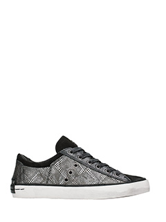 Crime-Sneakers basse in pelle antracite stampa pitone