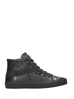 Crime-Sneakers alte in pelle nera