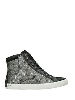 Crime-Sneakers alte in pelle nera e stampa pitone antracite