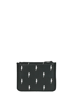 Neil Barrett-Pochette Small Zip Thunderbolt in pelle nera
