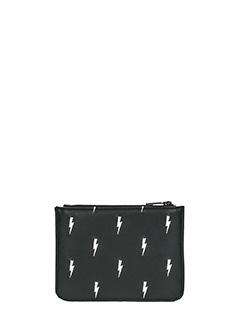 Neil Barrett-Pochette Small Zip Thunderbolt in pelle nera