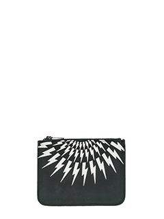 Neil Barrett-Pochette Small ZipThunderbolt in pelle nera