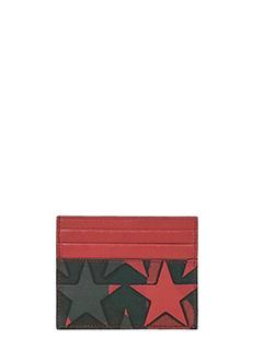 Valentino-Portacarte Camustars in pelle rossa grigia