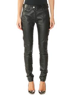 Balenciaga-black leather pants