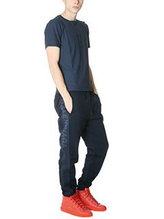 Balenciaga-Pantaloni in cotone e tessuto tecnico blue