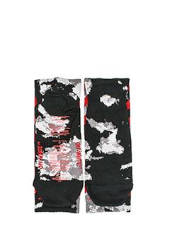 Off White-Calzini Liquid Spot in cotone nero-stampa all over e bande laterali in contrasto