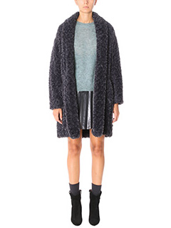 Isabel Marant Etoile-Cappotto Adams in eco pelliccia antracite