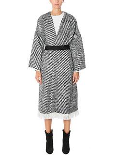 Isabel Marant-Cappotto Iban in lana ecru nero