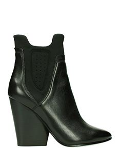 Ash-Bazar black leather and tissue ankle boots