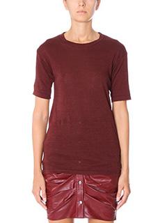Isabel Marant Etoile-T-Shirt Keiran in cotone bordeaux