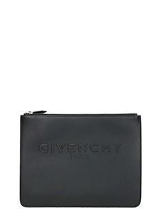 Givenchy-Large Logo black leather clutch