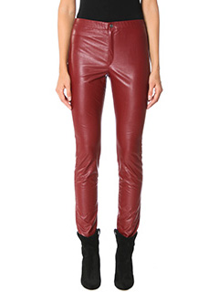 Isabel Marant Etoile-Leggings Jeffery in ecopelle bordeaux