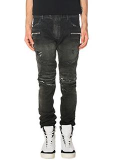Balmain-Jeans Biker in denim nero
