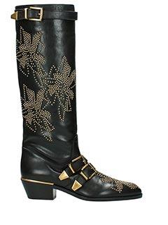 Chlo�-Stivali Susanna Boot in pelle nera-decorazione borchie oro