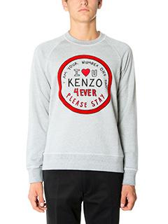 Kenzo-Felpa Please Stay in cotone grigio