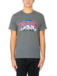 Kenzo-T-Shirt Pop Corn in cotone grigio