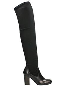 Chie Mihara-Stivali Tapia in pelle e tessuto elastico nero