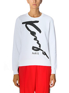 Kenzo-Signature white cotton sweatshirt