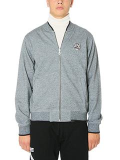 Kenzo-Felpa Zip Logo in cotone grigio