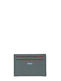 Kenzo-Portacarte di credito in pelle grigia