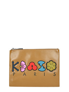 Kenzo-Pochette Logo in pelle gommata marrone