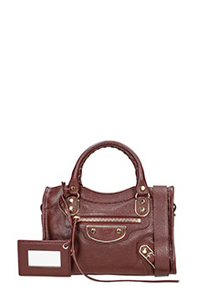 Balenciaga-Met mini city bordeaux leather bag