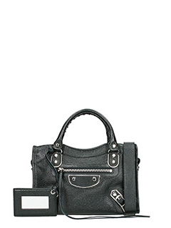 Balenciaga-Met mini city black leather bag