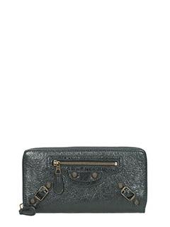 Balenciaga-Portafoglio Zip Around  in pelle nera