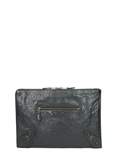 Balenciaga-Giant pouch black leather clutch