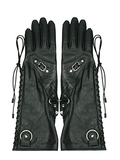 Balenciaga-black leather gloves