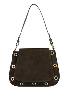 L'Autre Chose-Borsa Shoulder in crosta marrone scuro