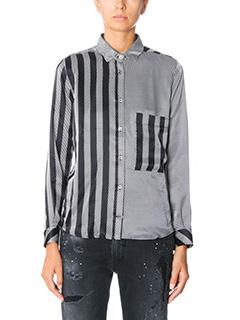 Golden Goose Deluxe Brand-Camicia in seta bianca nera