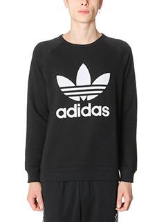 Adidas-Felpa Trefoil Crew in cotone nero