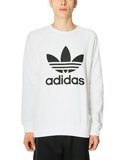 Adidas-Felpa Trefoil Crew in cotone bianco