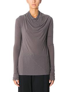Rick Owens-T-Shirt Ls Bonnie in jersey dark dust
