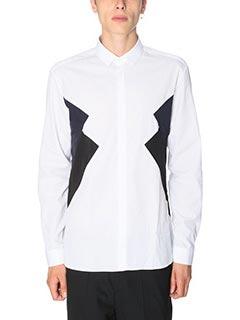 Neil Barrett-Camicia in cotone bianco nero