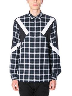 Neil Barrett-Camicia in flanella check nero bianco
