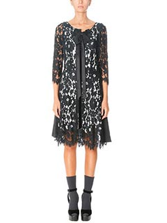 Marc Jacobs-Vestito Lace Dress in pizzo e seta nero